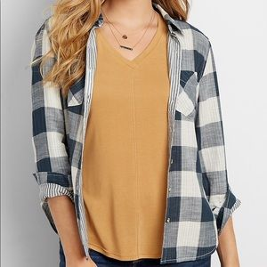 MAURICES Long Sleeve Check and Stripe Button Down